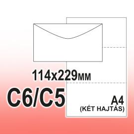 C6/C5 (114 x 229 mm) Enyvezett 35 x 90 mm jobb ablakos Boríték