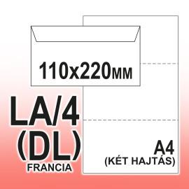 LA/4 (110x220 mm) Szilikonos 35x90mm jobb ablakos Boríték